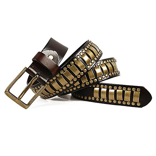 Dig dog bone Unisex Leather Belt for Men Women Adults Gothic Belts Handmade Steampunk Studded Punk Rock Blet (Color : Black, Size : 125cm) ()