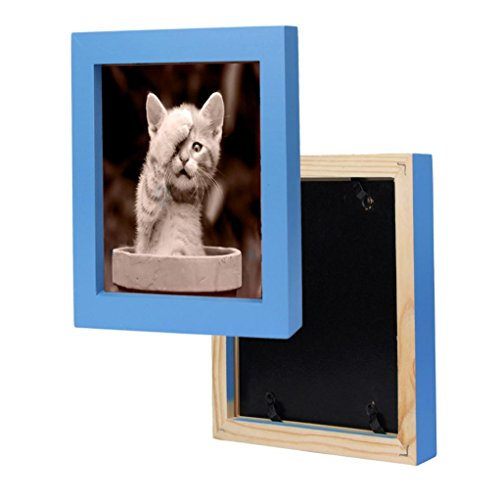 Hunputa 7''×7'' Picture Frame Home Fun Wood Photo Frame Collage Photo Frame for Wall (Sky Blue)