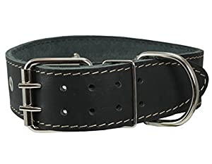 """Black High Quality Genuine Leather Studded Dog Collar, 1.75"""" Wide. Fits 18.5""""-22"""" Neck. For Large Breeds Boxer, Bulldog, Pitbull."""