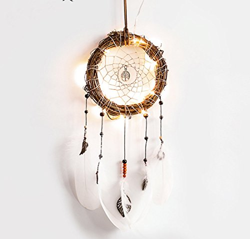 "Blocksco Dream Catcher White Feather LED - Battery Powered Fairy Lights Hanging Ornaments with Dipped Glitter Feathers Bohemian Wedding Decorations Nursery Decor Kids Room Decor, Dia 6"" Length 23"""