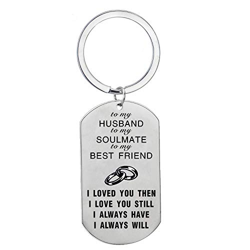 BESPMOSP Best Friend Husband Wife Love Keychain Family Keyring Wedding Birthday Jewelry (to My Husband)