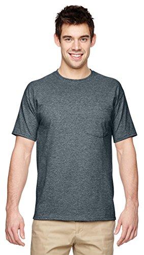 Jerzees Men's Heavyweight Crewneck Pocket T-Shirt, Black Heather, X-Large