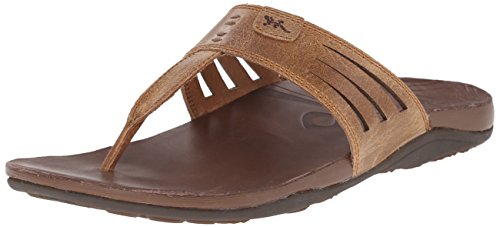Leather Chaco Flops Flip (Chaco Women's Sansa Flip Sandal, Dark Earth, 11 M US)