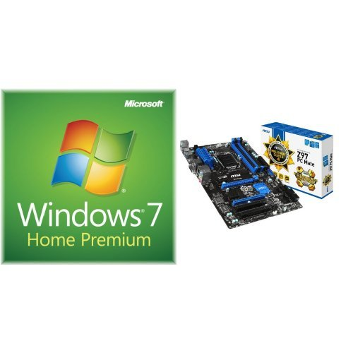 2400 System Board - Windows 7 Home Premium SP1 64bit, System Builder OEM DVD 1 Pack with MSI ATX DDR3 2400 LGA 1150 Motherboards Z97 PC MATE