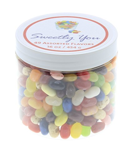 Jelly Belly 1 LB 49 Flavors Assorted Beans. (One Pound, 1 Pound) Bulk Jelly Beans in a resealable and reusable jar. (Gourmet Jelly Bean Jar)