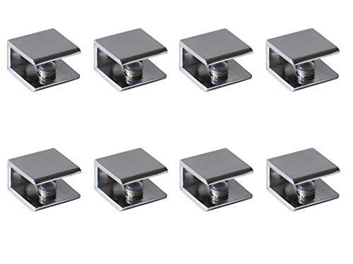 Glass Shelf Brackets Shelf Clips Metal Clamps Chrome Square Shape Wall Mounted Adjustable 8-12mm for Acrylic Wood (Set of 8)