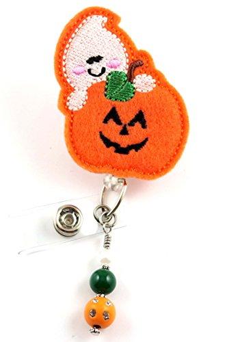 Pumpkin and Ghost - Nurse Badge Reel- Retractable ID Badge Holder - Nurse Badge - Badge Clip - Badge Reels - Pediatric - RN - Name Badge Holder