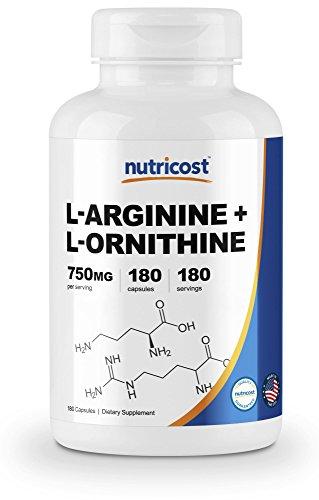 - Nutricost L-Arginine L-Ornithine 750mg; 180 Capsules