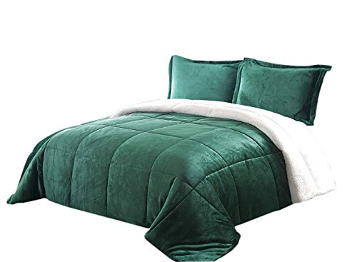 Chezmoi Collection 3-Piece Micromink Sherpa Reversible Down Alternative Comforter Set (King, Hunter Green)