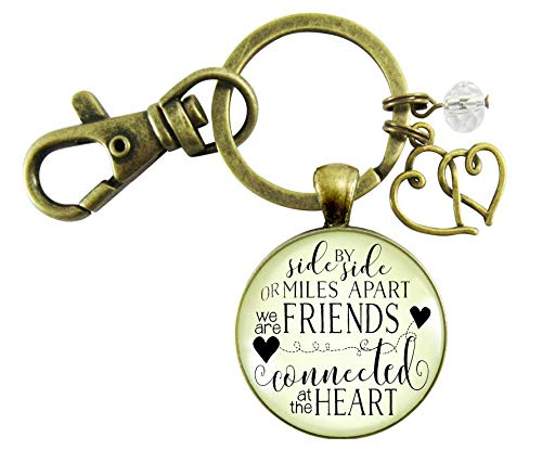 - Best Friends Keychain Side By Side Miles Apart Long Distance Quote Friendship Gift Jewelry For Women Heart Charm