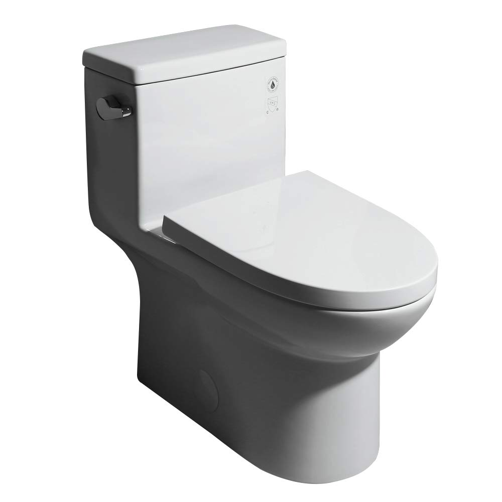 JinYuZe Modern One-Piece Single Flush 1.28 GPF Elongated Siphonic Toilet,with Soft-Close Seat & Lid,White