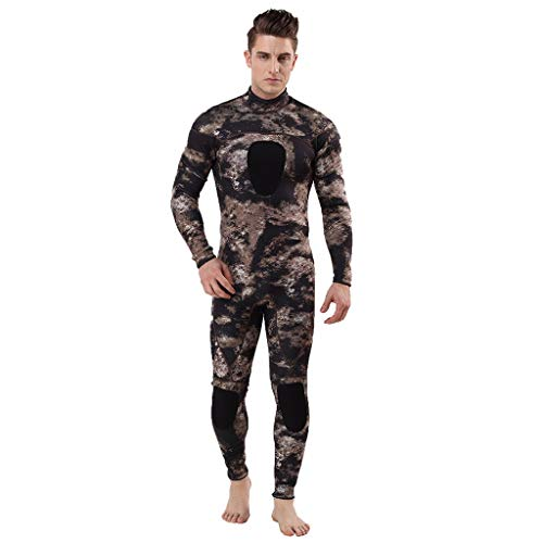 Iusun Men 's One Piece Wetsuit Long Sleeve Printing Bodysuit 3MM Full Body Cover Swimwear Swim Suit Super Stretch UV Protection- Perfect for Swimming/Scuba Diving/Snorkeling/Surfing