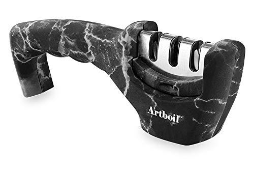 (Artboil Professional Kitchen Knife Sharpener w/non-slip base - 3 Stage Diamond Knife Sharpening Tool - Chefs Choice Work Sharp Knife Sharpener)