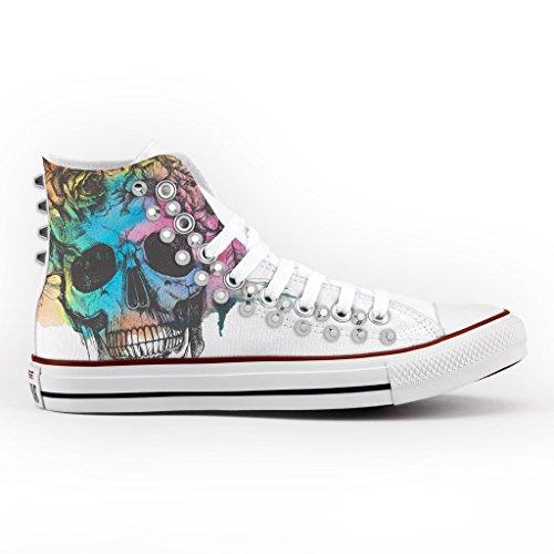 Converse skull argent Italien summer et All Imprimés and Clouté chaussures la Personnalisé produit main Star à rYOpxqr