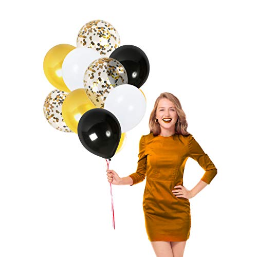 Treasures Gifted Gold Black and White Confetti Balloons Set Bouquet for Birthday Graduation Table Decorations Bridal Shower Retirement Party Supplies ()