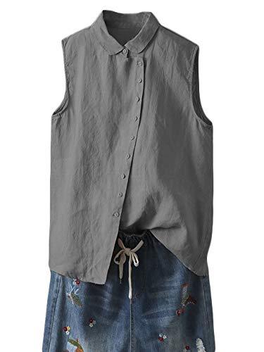 - Minibee Women's Linen Sleeveless Shirt Solid Color Tank Top Casual Plus Size Shirts Blouses Dark Grey XL