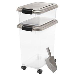 IRIS USA, Inc. 3- Piece Airtight Pet Food Storage Container Combo, Chrome