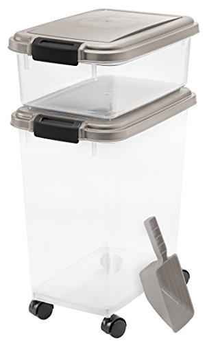 IRIS Airtight Pet Food Container Combo Kit, Chrome/Black