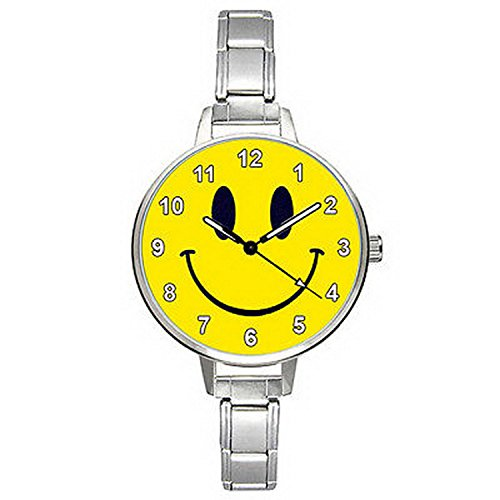 Watch Men Smiley Face (BMTC171 Smiley Happy Face Stainless Steel Italian Charm Strap Mens Ladies Watch)
