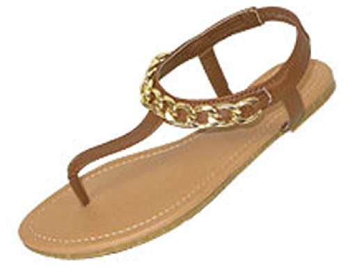 Womens T Strap Gladiator Sandals Flats shoes W/Chain Embellishment (7/8, Tan/Gold 6331)