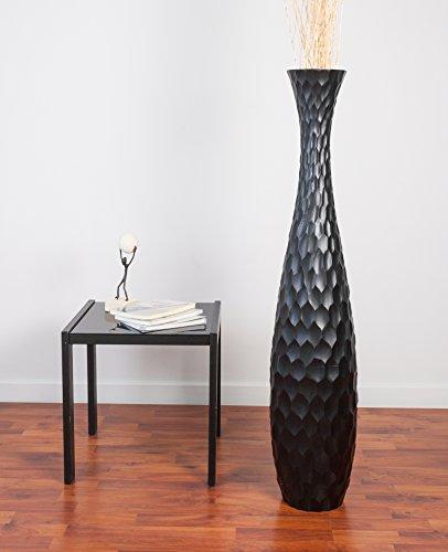 Leewadee Tall Floor Vase 44 inches, Wood, Black