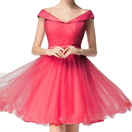 AiniDress Cap Dresses with Prom Sleeves Pleats Short the Red Off Dress Shoulder Homecoming wXqfZPf