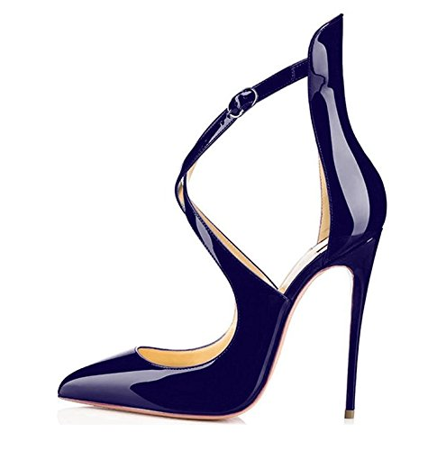 Sammitop Women's Strappy High Heel Formal,Wedding,Party Simple Classic Pump Navy US8.5 (Womens Pumps Sexy)