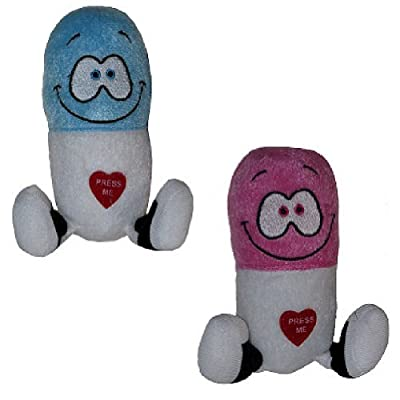 (Set/2) Giggling Happy Pills Plush Toys - Cute Animated Laughing Medicine