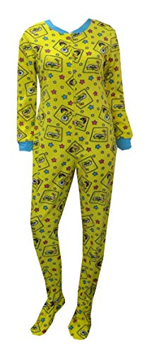 Nickelodeon Women's Spongebob Faces and Stars Onesie Footie Pajama (Large) Bright Yellow -