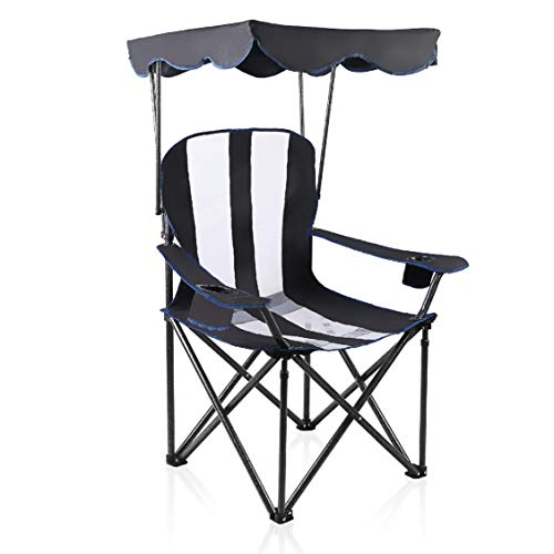 ALPHA CAMP Heavy Duty Canopy Camping Chair with Mesh Back - Black