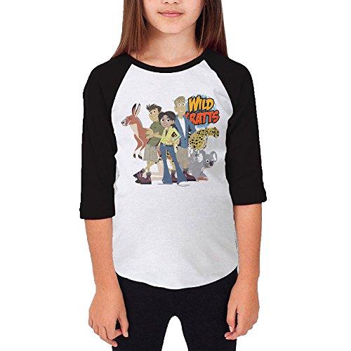 [101dog Wild Kratts Unisex Youth Casual 3/4 Raglan Jersey L] (Caitlyn Jenner Costume)