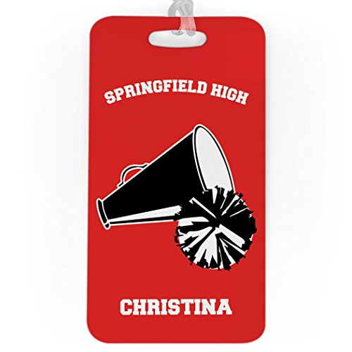 Cheerleading Luggage & Bag Tag | Personalized Cheer Team Pom Pom & Megaphone | Standard Lines on Back | LARGE | (Cheerleader Luggage Tag)