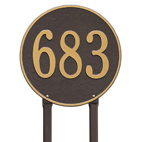 """(Exterior Accents 15"""" Round Aluminum Lawn Address Plaque (1 Line) – Large 7"""" High Numbers)"""