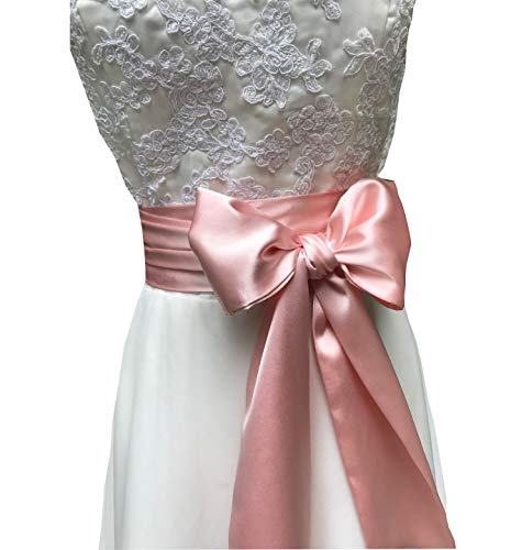 Special Occasion Dress sash Bridal Belts Wedding sash 4'' Wide Double Side (Blush)