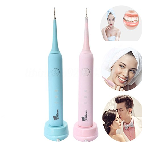 Teeth Stain Removal Household Dental Calculus Removal Device Electric Dental Calculus Remover Tooth Stains Tools High Frequency Vibration Dental Calculus Removal Device (Pink)