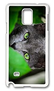 Adorable green eyes grey cat Hard Case Protective Shell Cell Phone HTC One M7 - PC White
