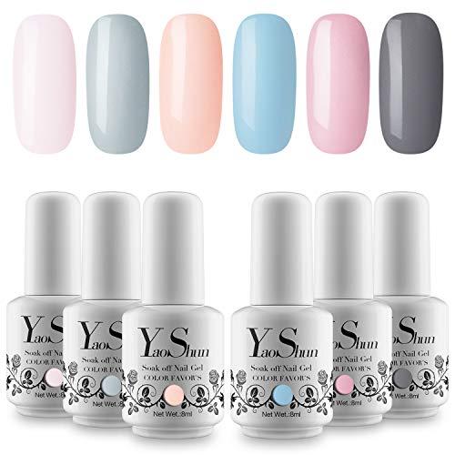 YaoShun 6 Colors UV LED Gel Nail Polish Set Soak Off Nail Gel Varnish Shiny Nude Colors Kit 8ml/pcs