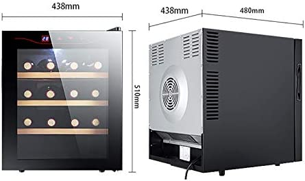 CLING Enfriador de Vino Refrigerador Nevera 16 Botellas Zona única Bodega Enfriador de Vino Independiente con Puerta de Vidrio de Doble Capa Pantalla táctil de Acero Inoxidable