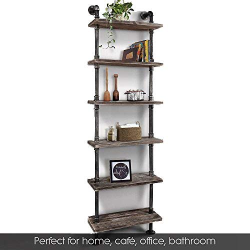 buy popular 34a5b f885a Industrial 6-Tiers Modern Ladder Shelf Bookcase ,Wood Storage Shelf,Display  Shelving, Wall Mounted Wood Shelves, Metal Wood Shelves Bookshelf Vintage  ...