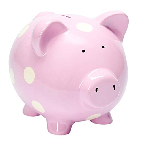 Polka Dot Piggy Bank (Elegant Baby Classic Piggy Bank, Pastel Pink)