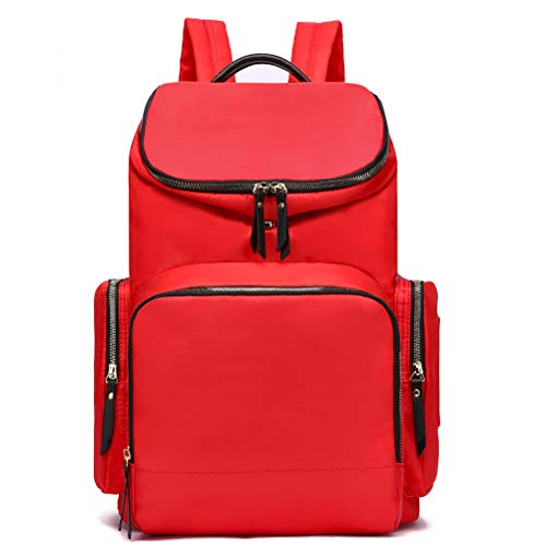 HaloVa Diaper Bag, Baby Nappy Bag, Maternity Mommy Travel Shoulders Backpack, with Thermal Insulated Bottle Pockets and Wet Cloth Pocket, Expandable Design, Red