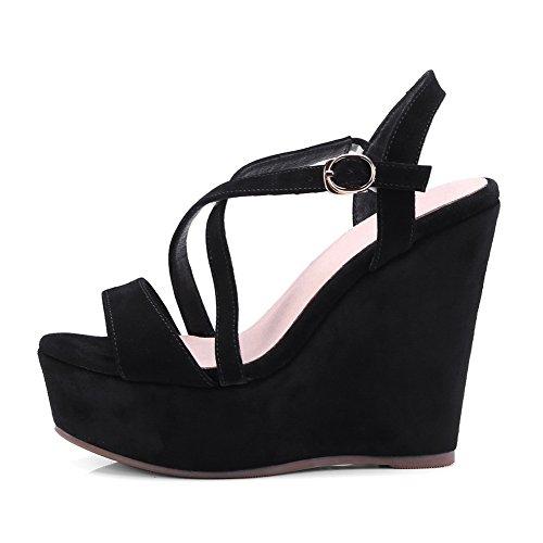 Buckle Black Platforms Womens Lambskin Platform AdeeSu Wedges Sandals SLC03614 HSvz7nq
