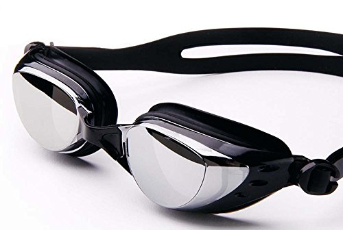 UCCOK Plating Myopia Swimming Goggles Anti-Fog Big Box Waterproof Men and Women/Children(Black Color Plating)
