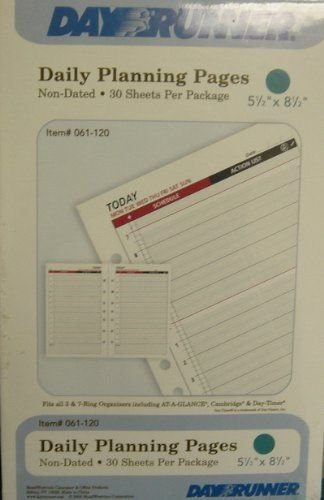 Day Runner Classic Daily - Day Runner(R) Organizer Accessories For Classic Organizers, 5 1/2in. x 8 1/2in, Daily Nondated Today Pages, Pack Of 30 Sheets