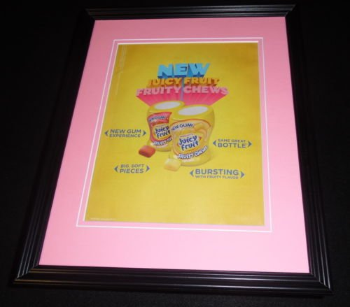 2014-juicy-fruit-fruity-chews-gum-framed-11x14-original-vintage-advertisement