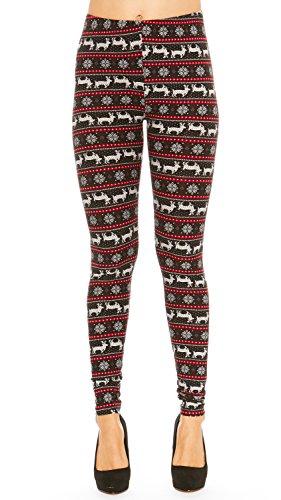 Just One Women's Extra Soft Fair Isle Winter Leggings (Large, Black Reindeer)
