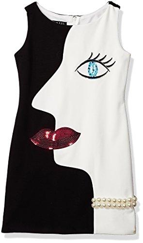 Biscotti Big Girls Artistic Flair Ponte Dress With Face Motif, black/Ivory, 10 ()