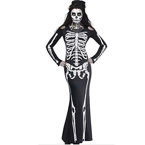 YOcheerful Womens Halloween Maxi Dress Party Ghost Costume Club Dress (B,S) -