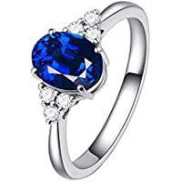 Haluoo Women's Sterling Silver Ring, Oval Fire Opal Diamond Band Rings Gemstones Birthstone Halo Solitaire Engagement…