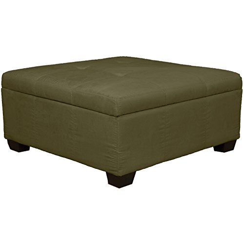 "36"" x 36"" x 18"" high Tufted Padded Hinged Storage Ottoman Bench, Microfiber Suede Olive Green"